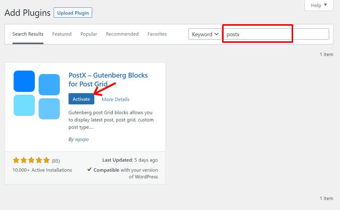 Activate PostX Plugin