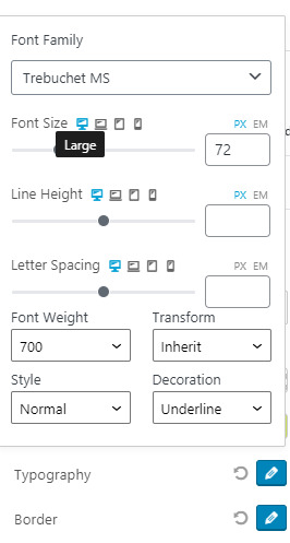 PostX Table of Content Typography